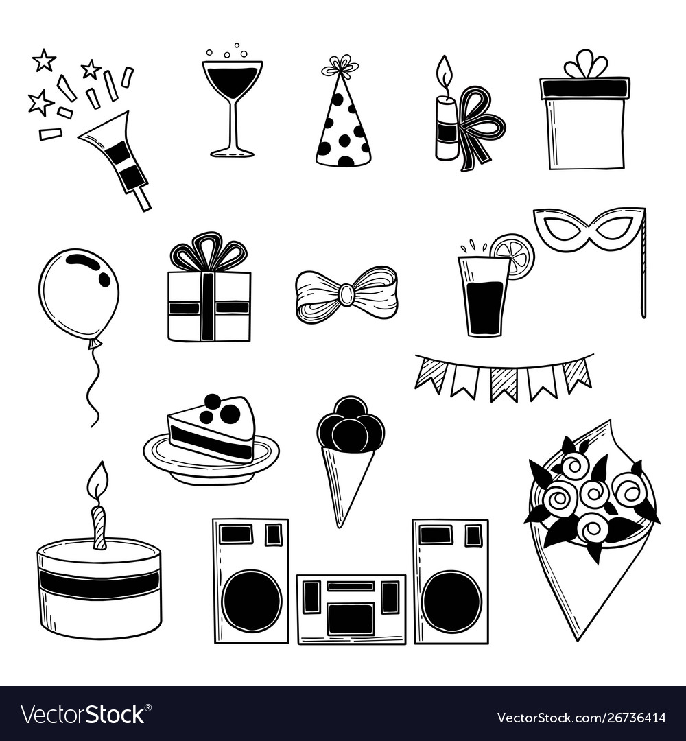 Party icons events birthday celebrating symbols
