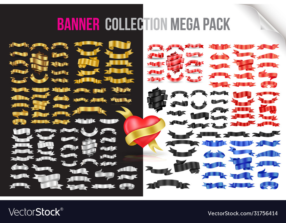 Ribbon banners collection mega pack