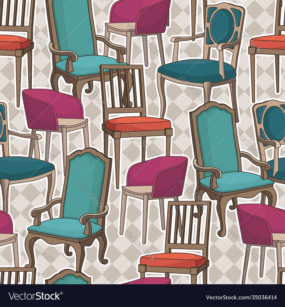 Seamless pattern with armchairs
