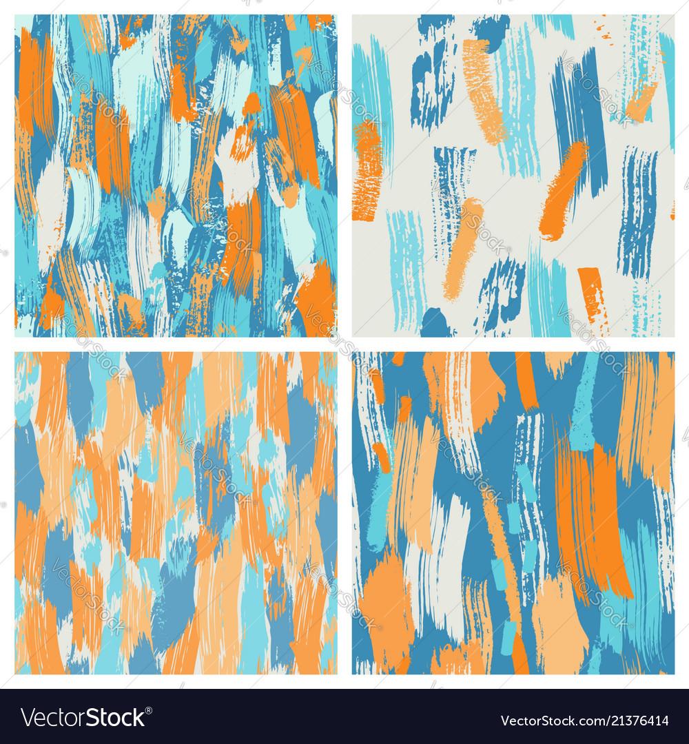 Set of four seamless grunge brush pattern in