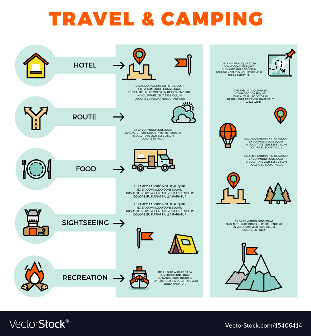 Travel and camping colorful infographic with line