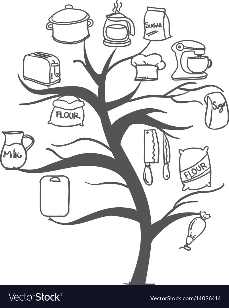 Tree Kitchen Set Hand Draw Collection Royalty Free Vector