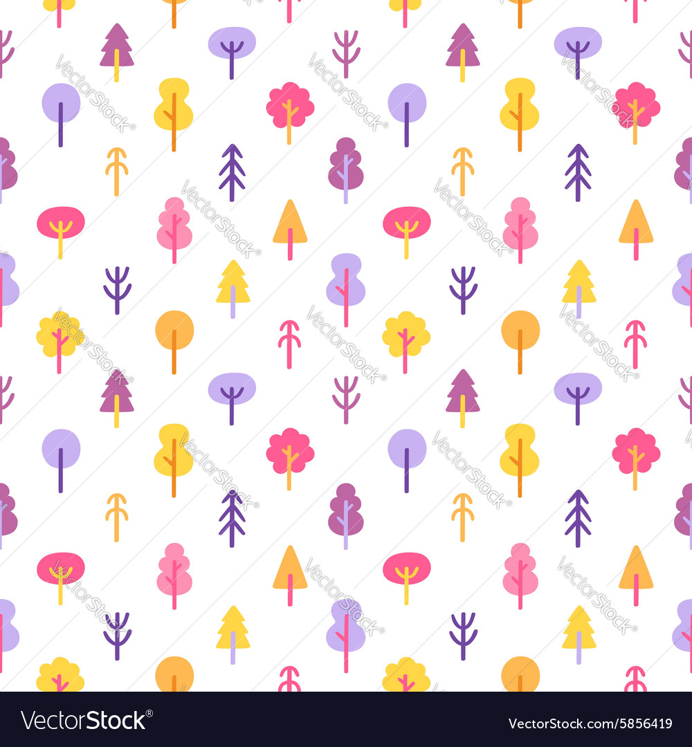 Colorful trees in the park seamless pattern
