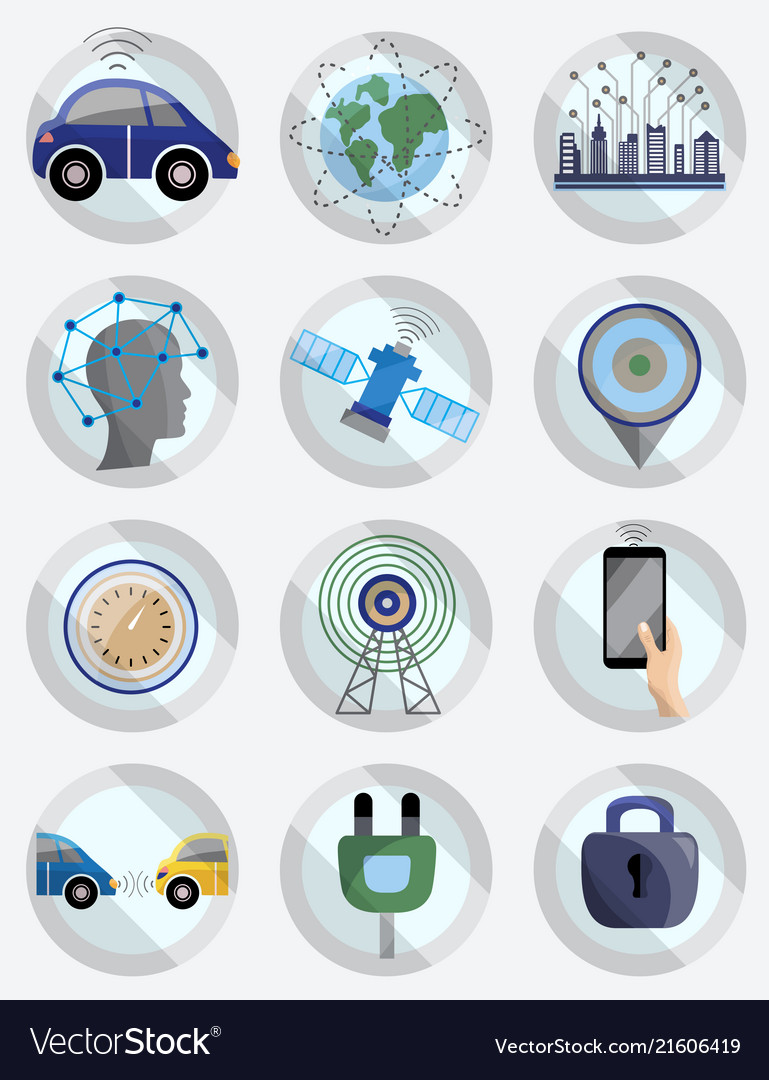 Driver assistance system icon set self-driving