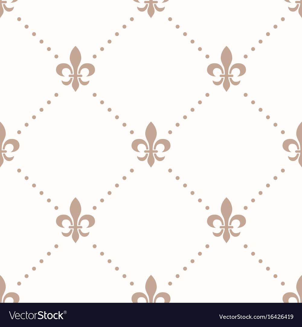 Fleur de lis sign and dot seamless pattern