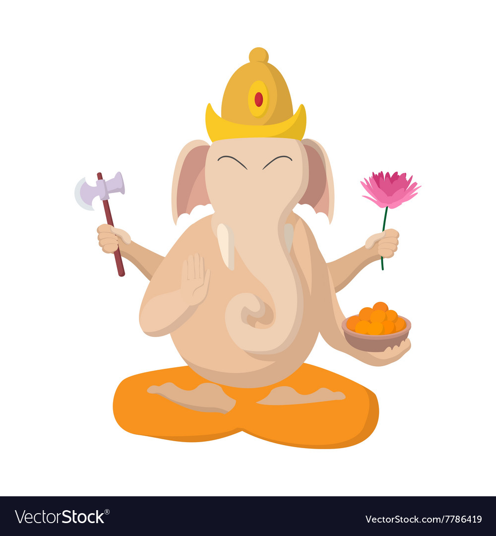 Ganesha icon cartoon style vector image