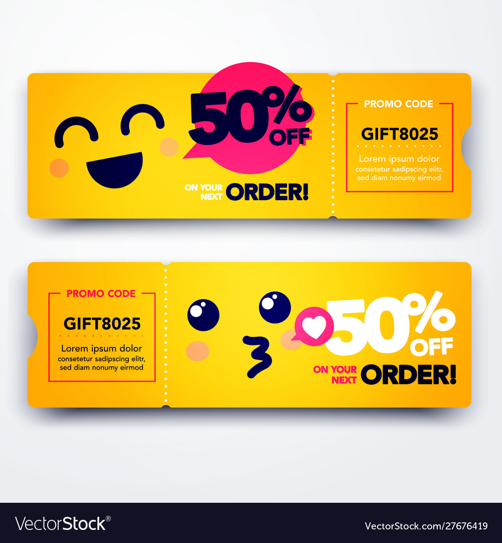 Gift voucher template with coupon code with emoji