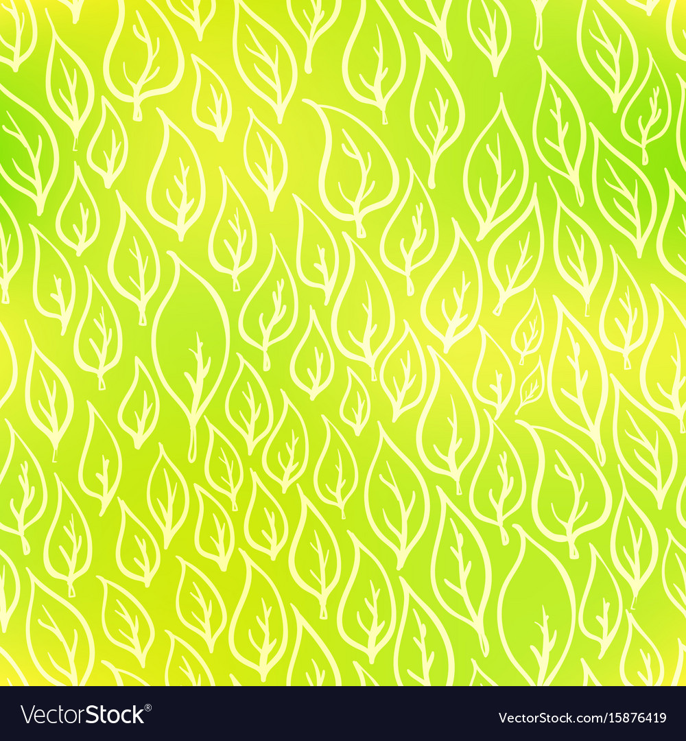Hand-drawn leaves on green eco seamless pattern vector image