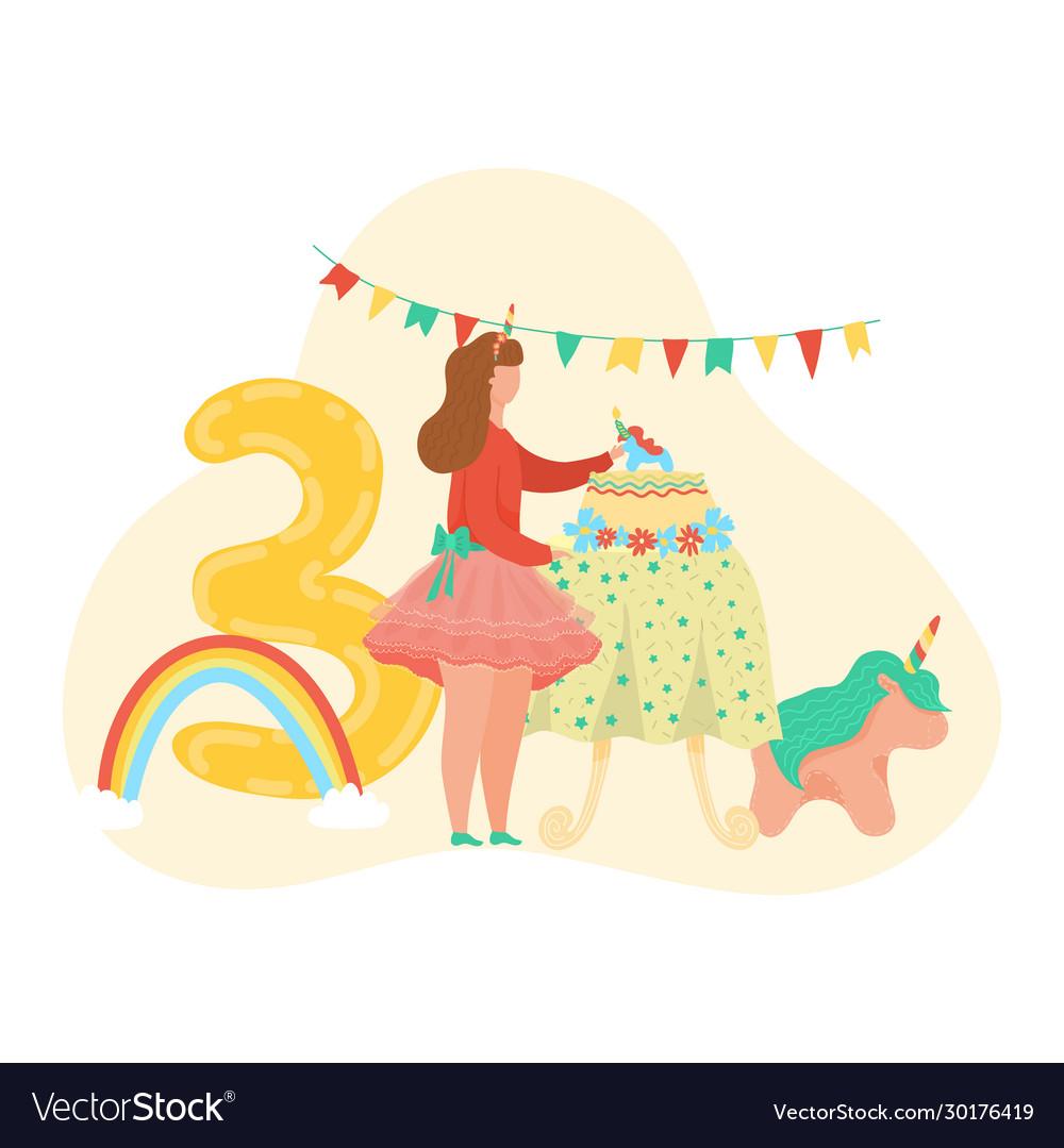 Happy birthday girl number three letter ballon