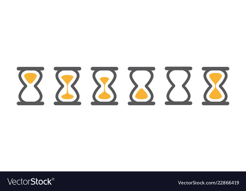 Hourglass various icons for animation frames gray