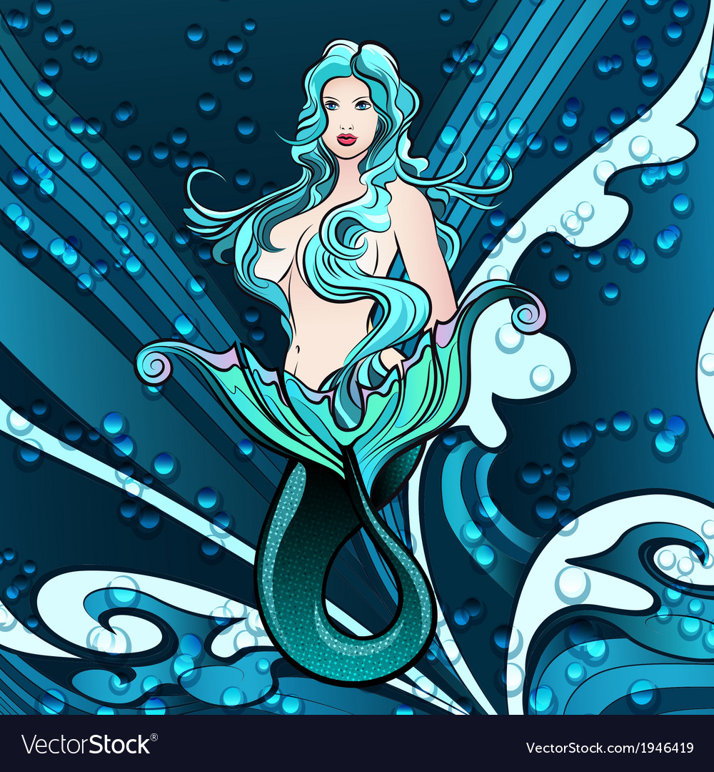 Mermaid in blue vector image