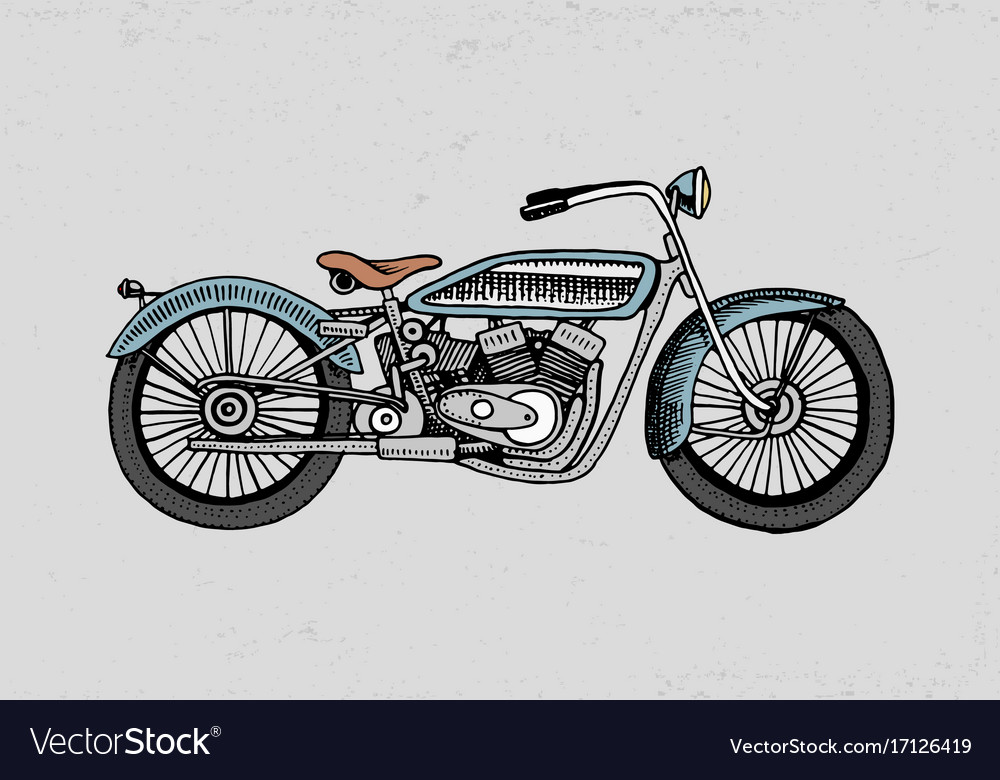 Motorcycle or motorbike engraved