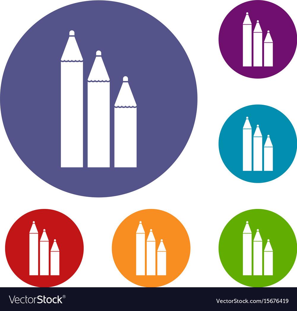 Three pencils icons set vector image