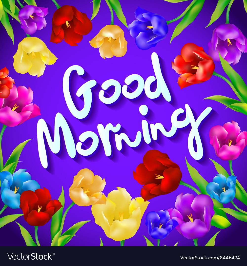 A Good Morning Message Flower Greeting Good Vector Image