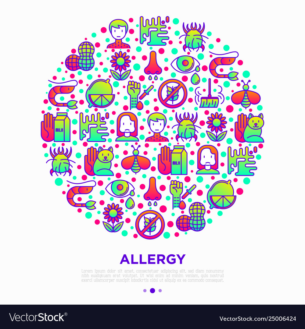 Allergy concept in circle with thin line icons