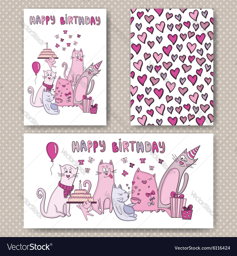 Birthday cards design with funny cats