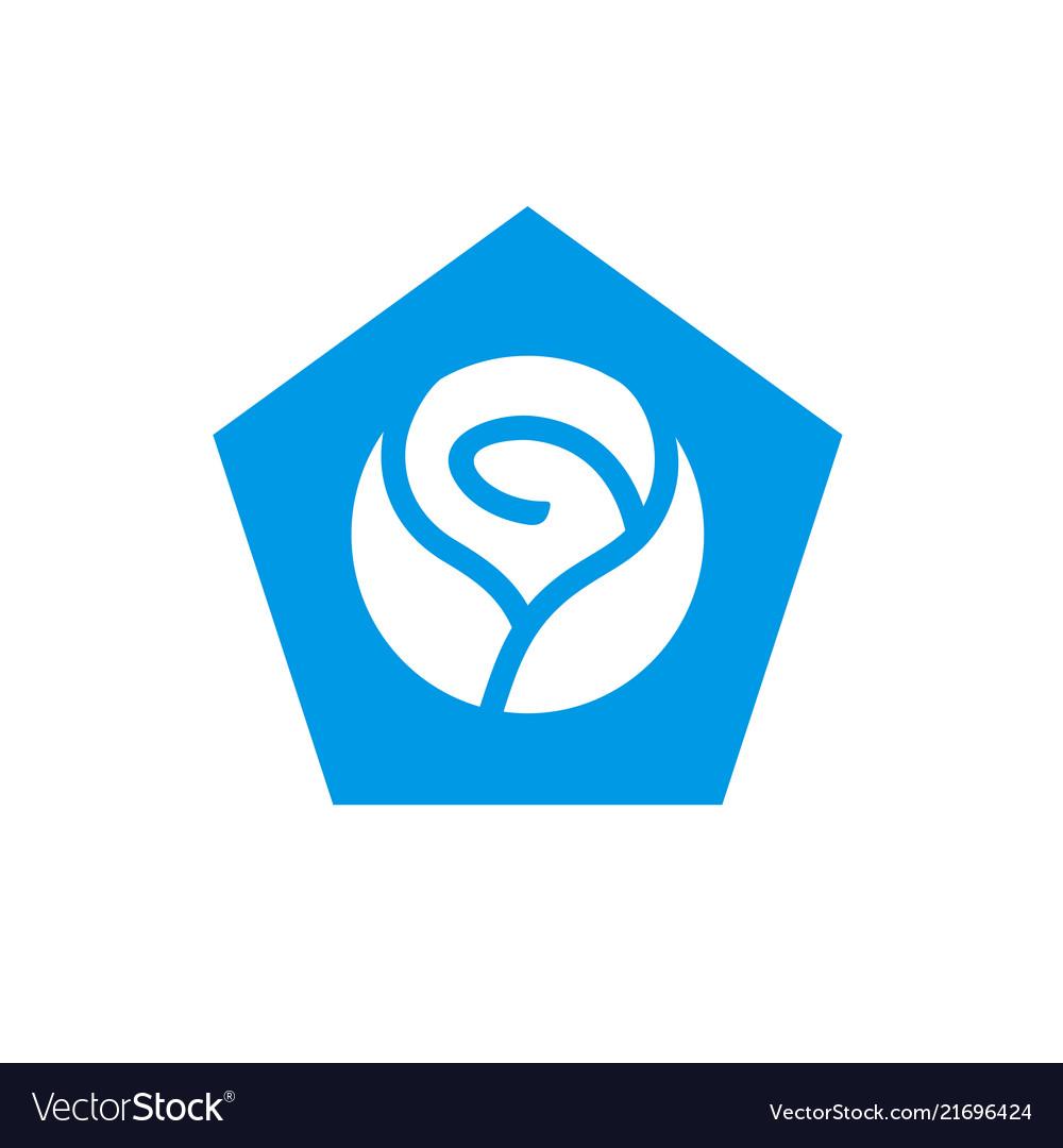 Blue rose and pentagon shape logo