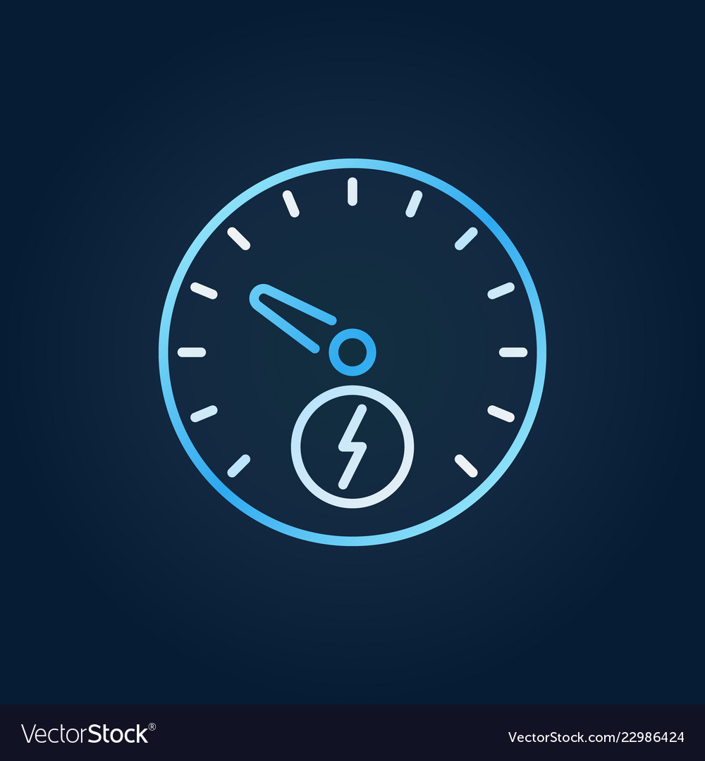 Electric car speedometer colorful outline