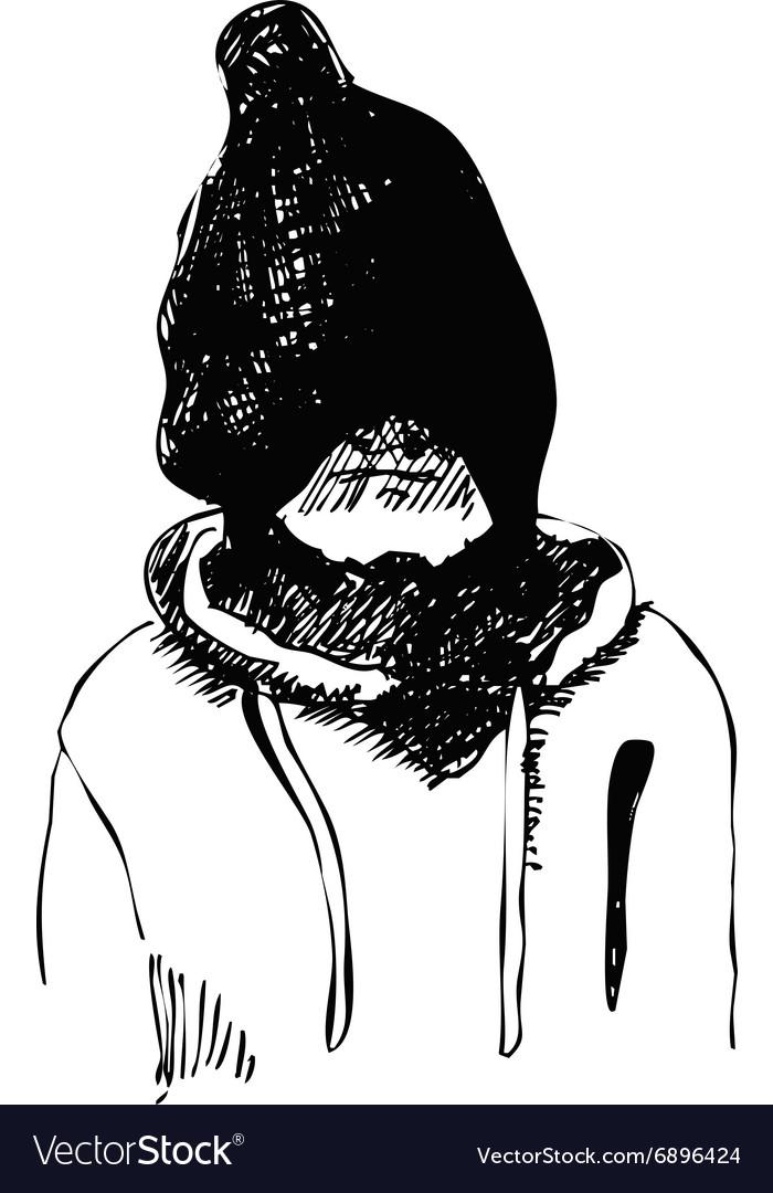 Hand drawn sketch of kid in winter hat vector image