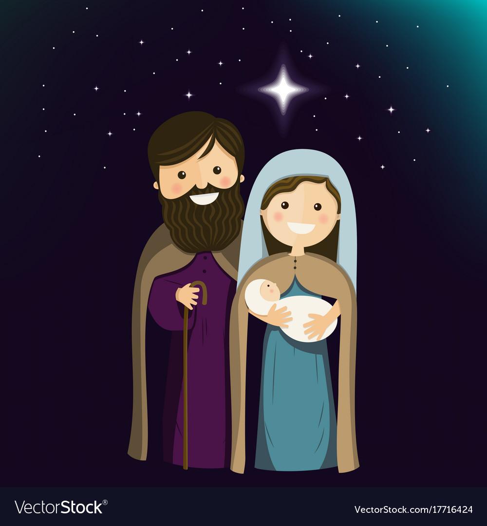Holy family on christmas eve ilustration