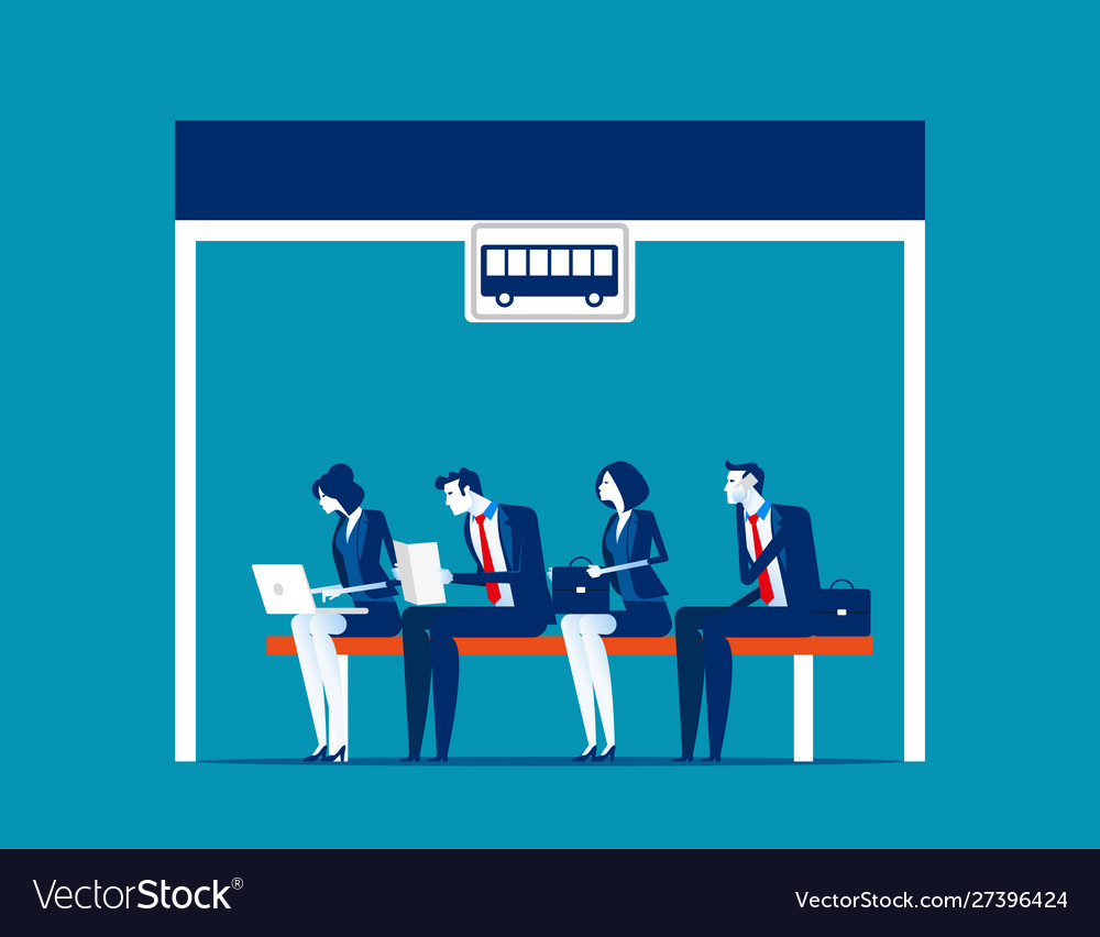 People sitting at bus stop concept business