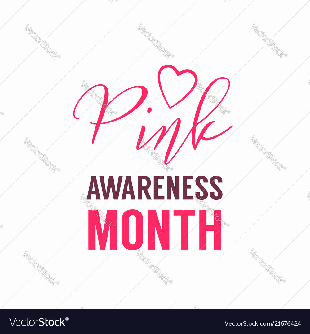Pink awareness month logo with heart symbol