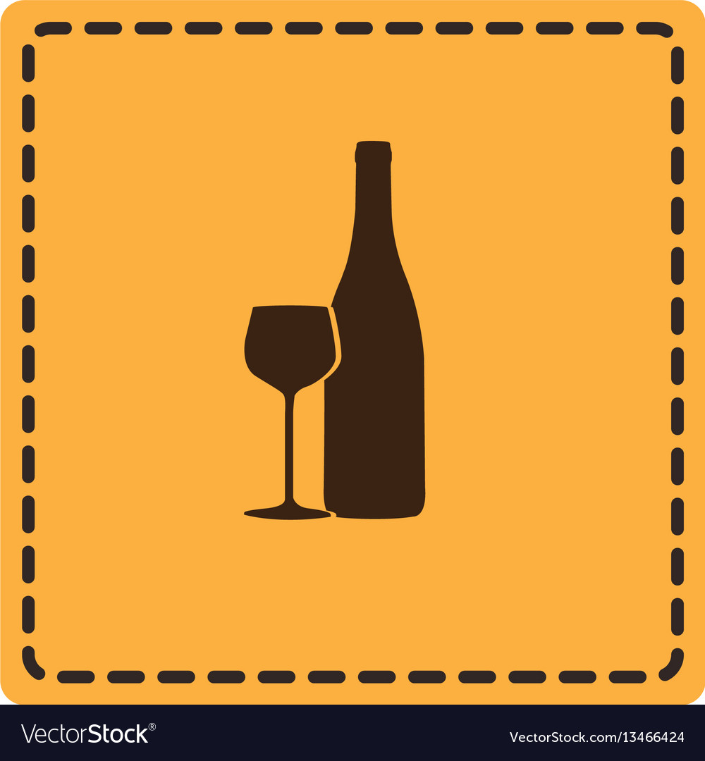 Yellow emblem wine bottle with glass icon vector image