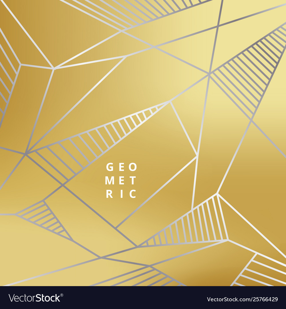 Abstract silver line geometric on gold background