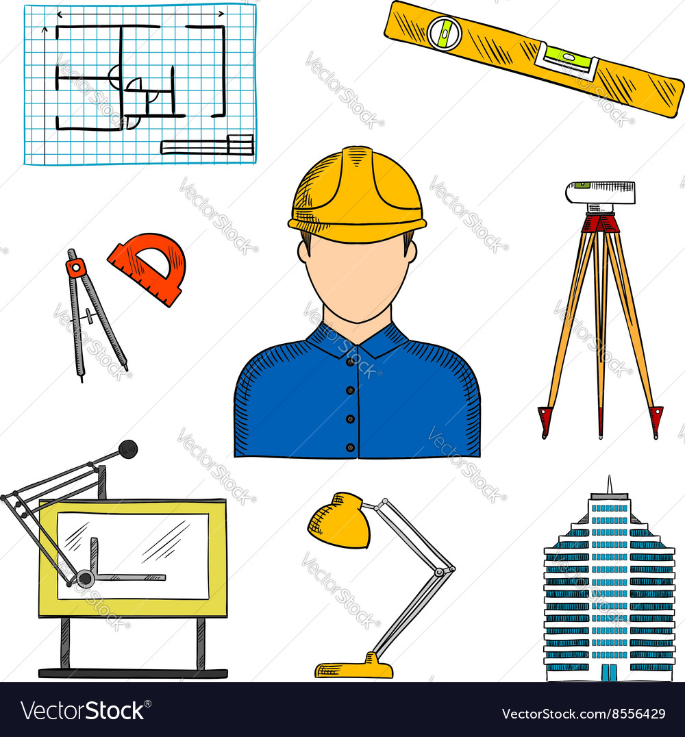 Architect or engineer with construction symbols