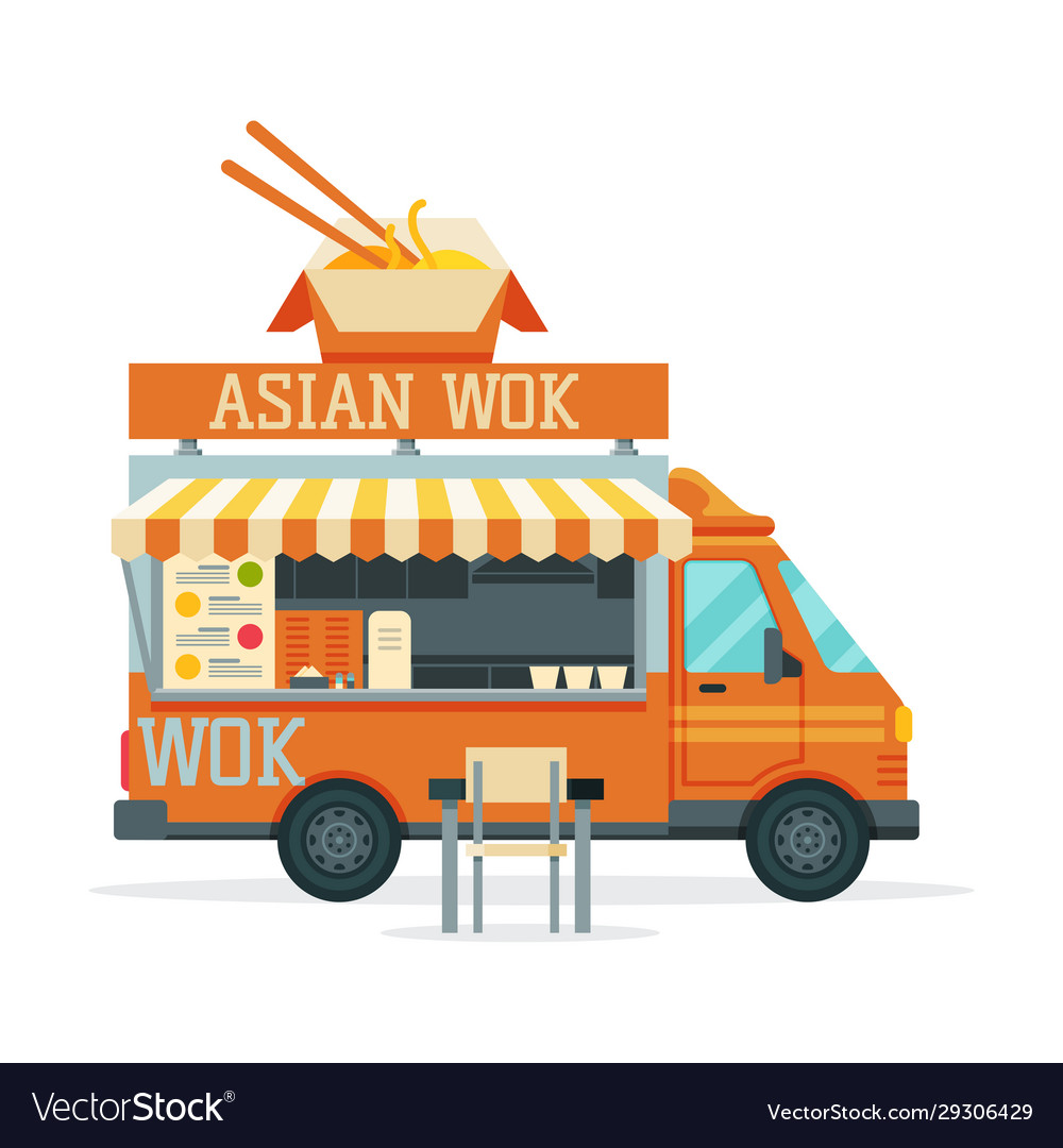 Asian food truck street meal vehicle fast food