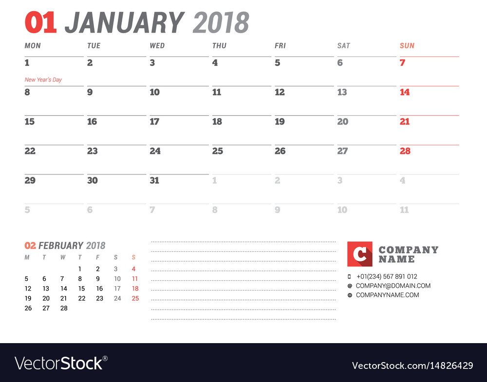 calendar template for january 2017 business vector image