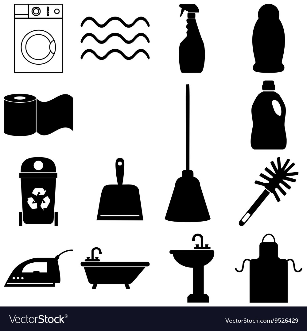 Cleaning service icons set Flat style