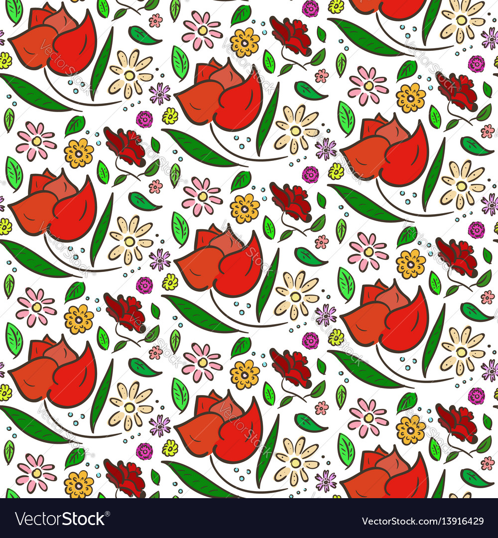 Colorful flowers pattern with big roses and leaves vector image