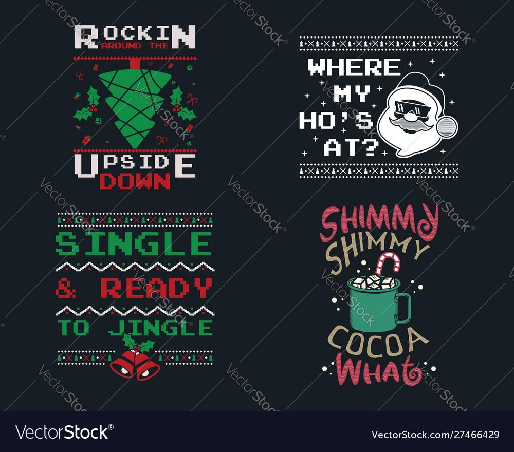 Funny christmas graphic prints set t shirt