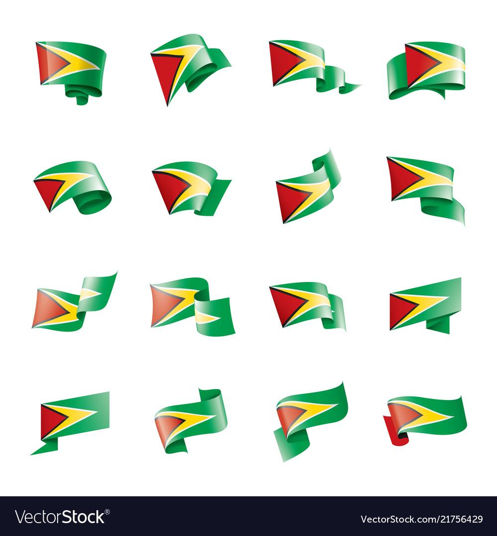 Guyana flag on a white