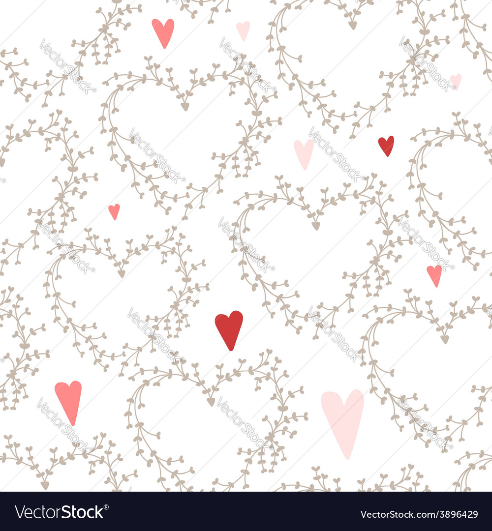 Hand drawn pattern with wreaths and hearts