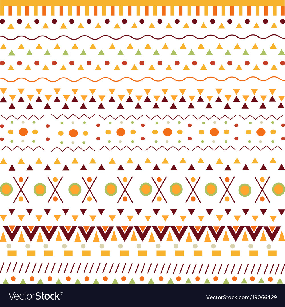 Pattern with ethnic african signs on white vector image