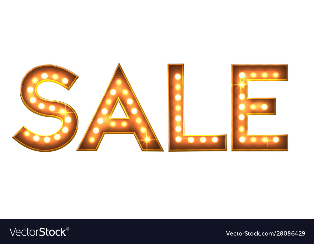 Sale banner with light bulb lamp letters discount