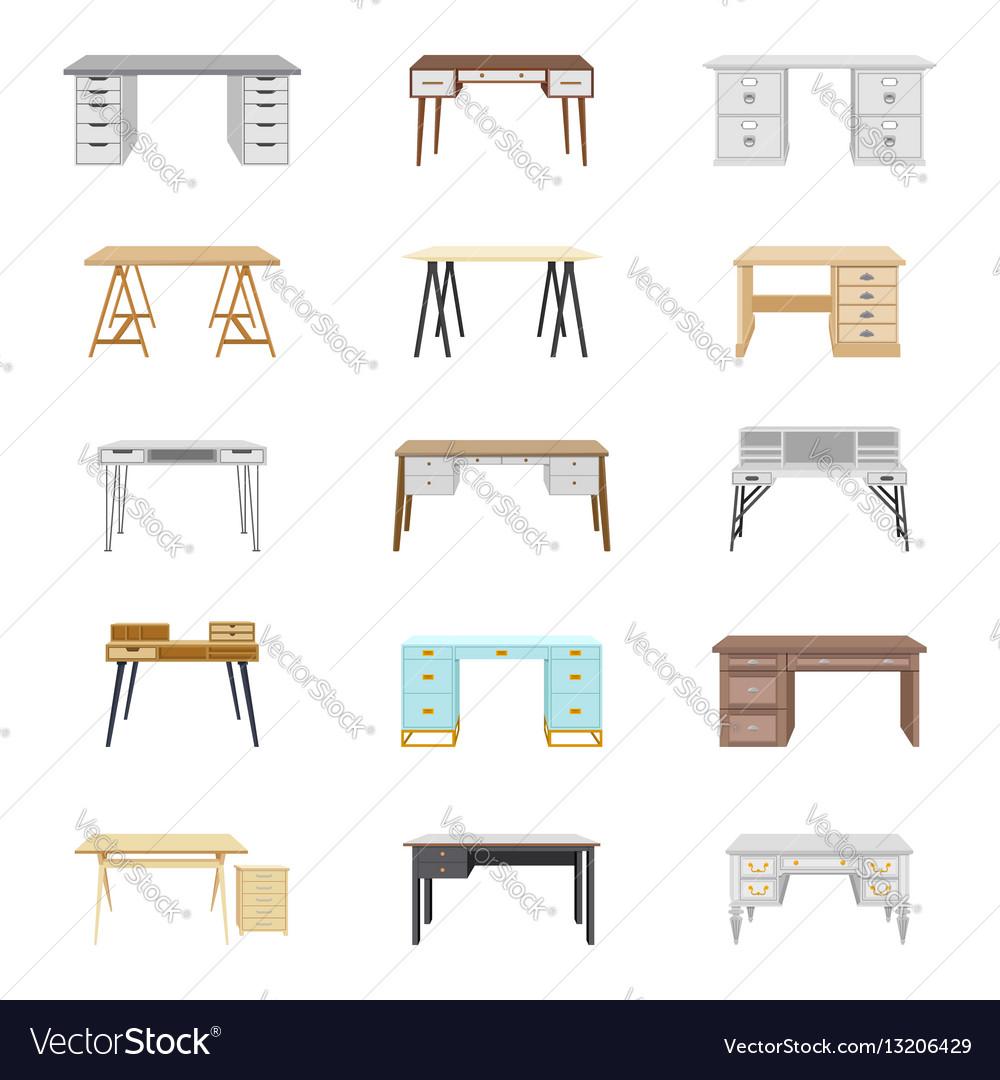 Set of fifteen office desks