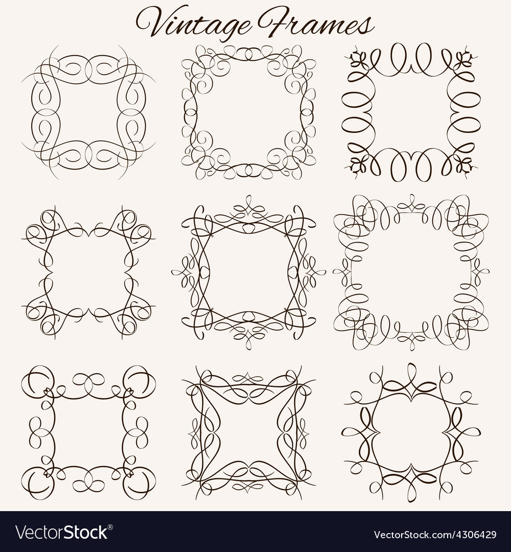 Set of frames Hand-drawn calligraphic and