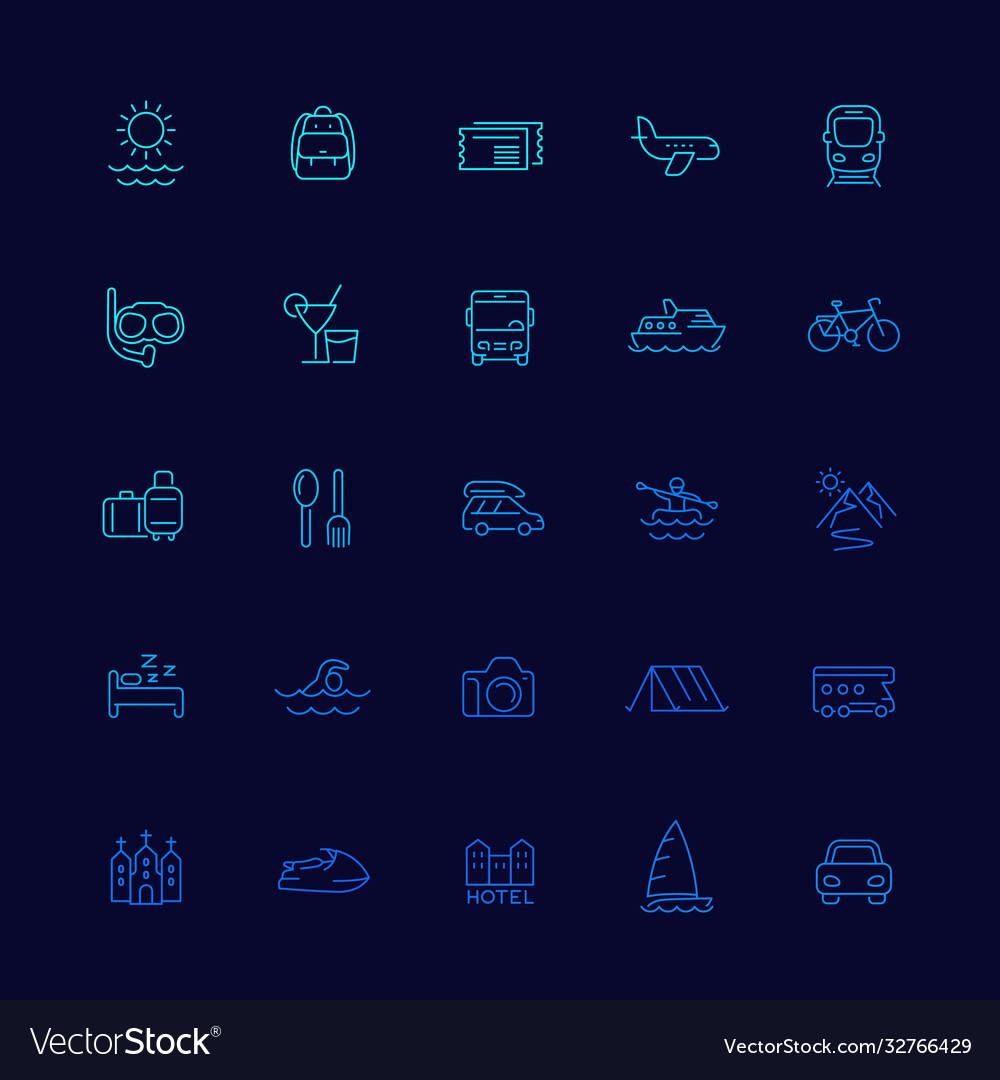 Travel tourism icons line set