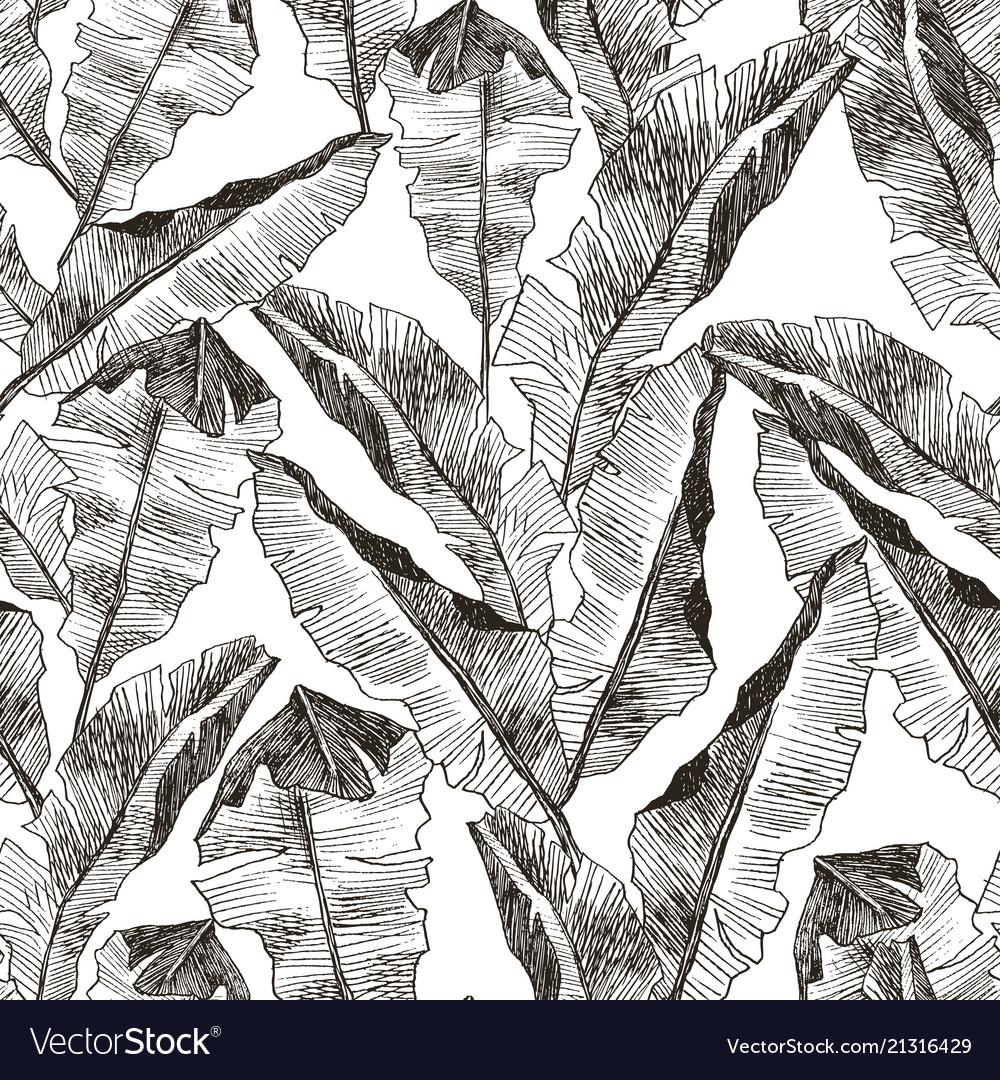 Tropic plants floral seamless jungle pattern