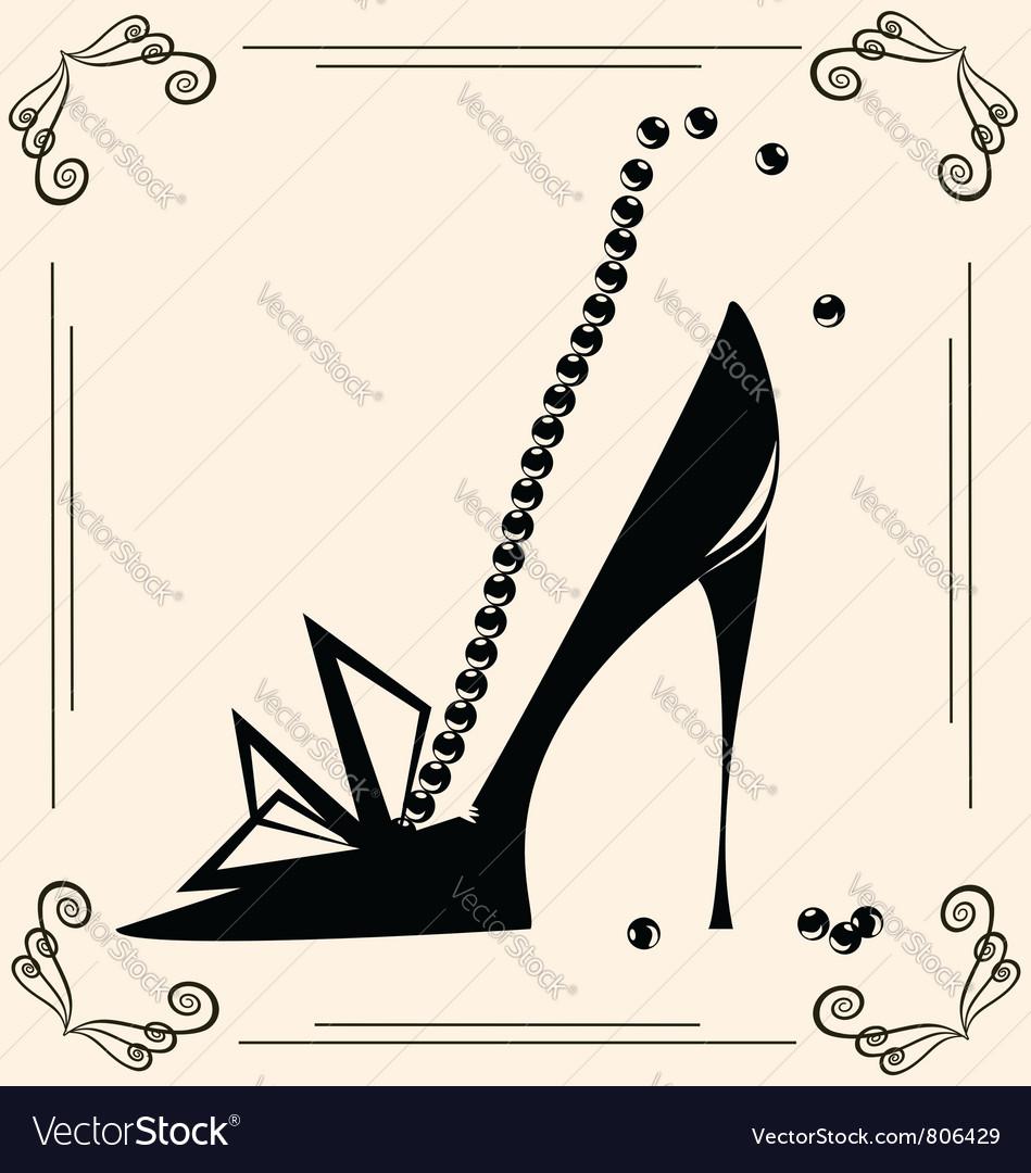 Vintage womans shoe vector image