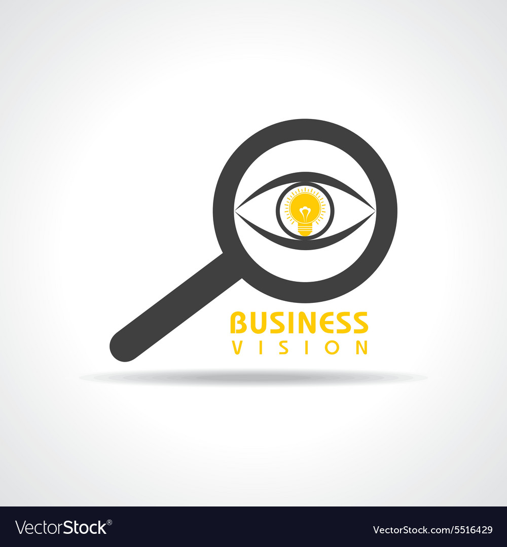 Vision and idea concept- eye with light bulb symbo vector image