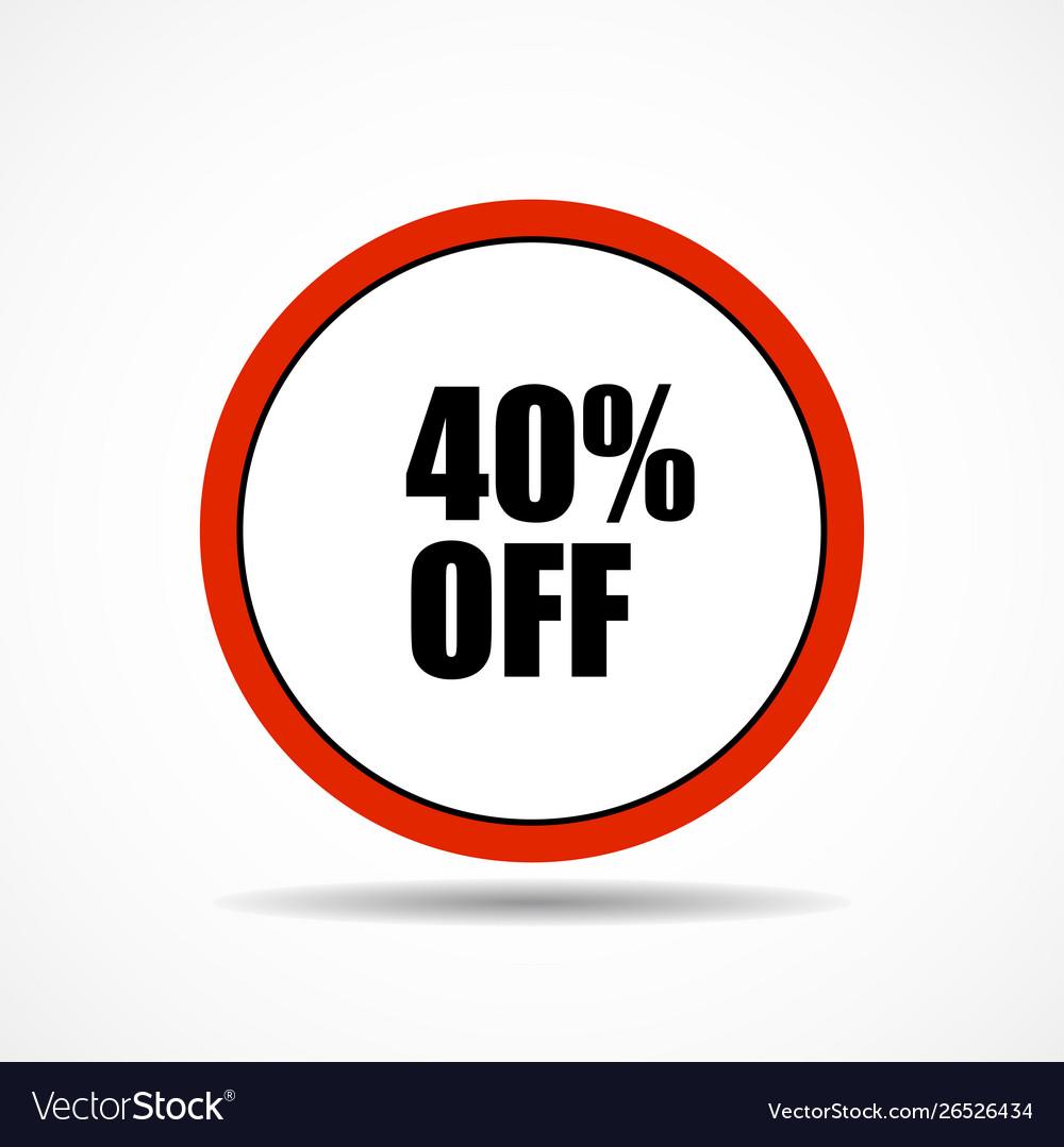 40 percen off sale label symbol in circle shape