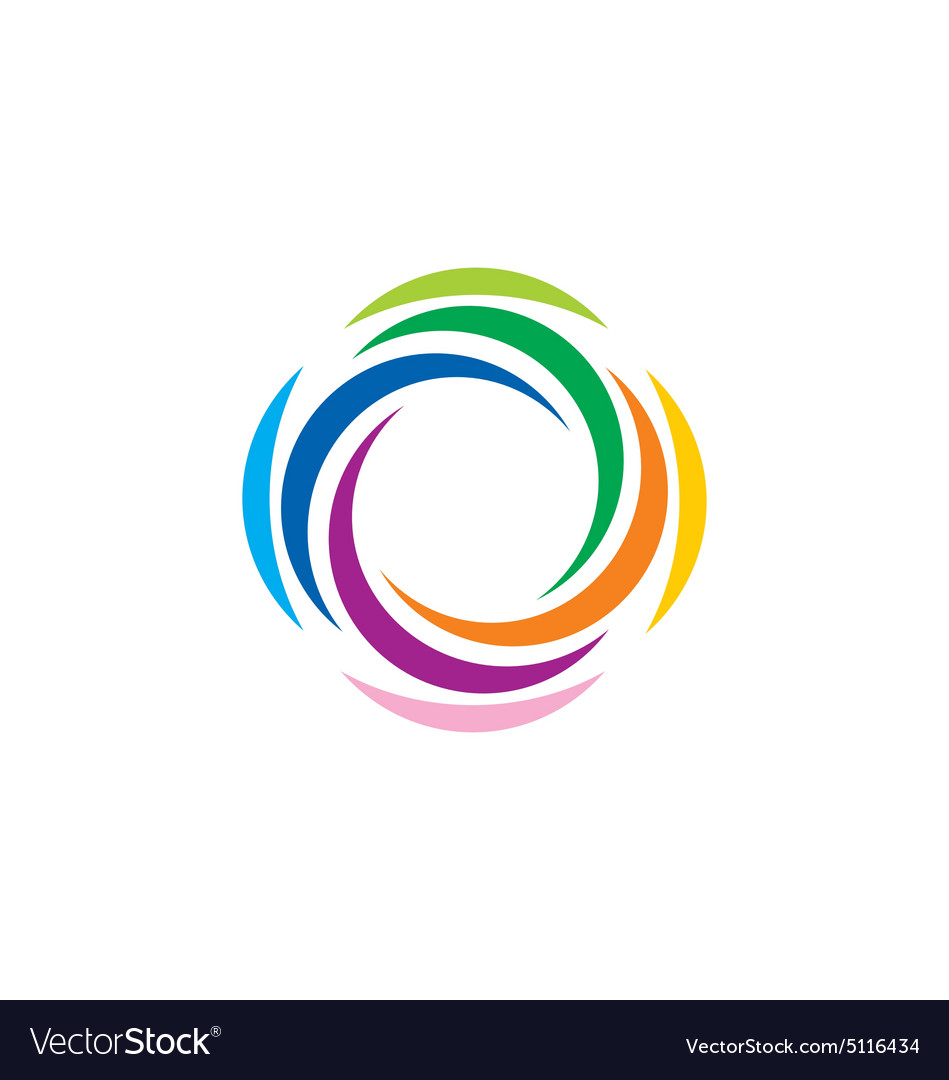 Abstract colorful rotation spin logo