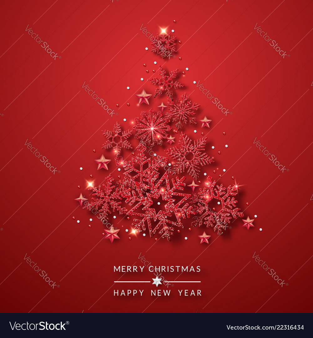 Christmas tree background with shining red