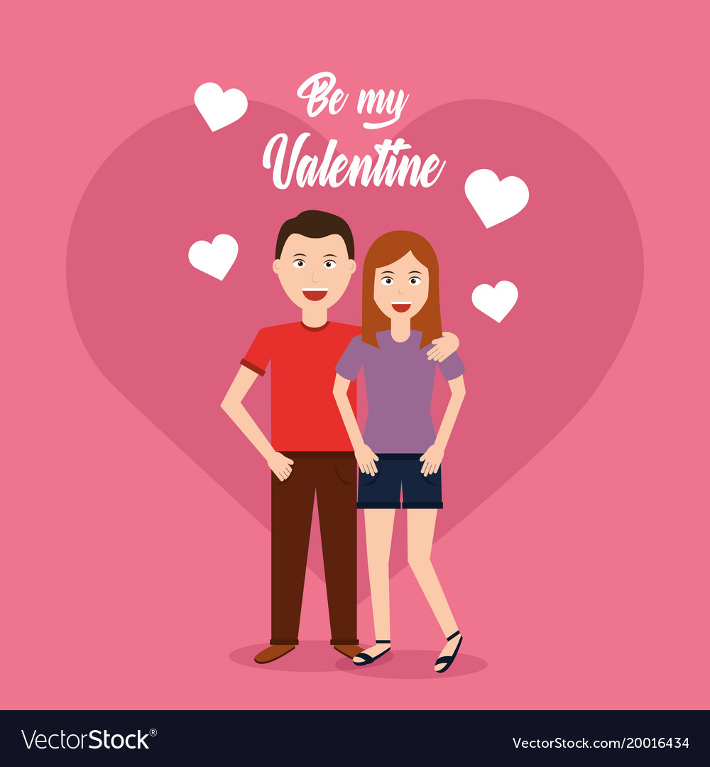Couple hugging valentine card heart background