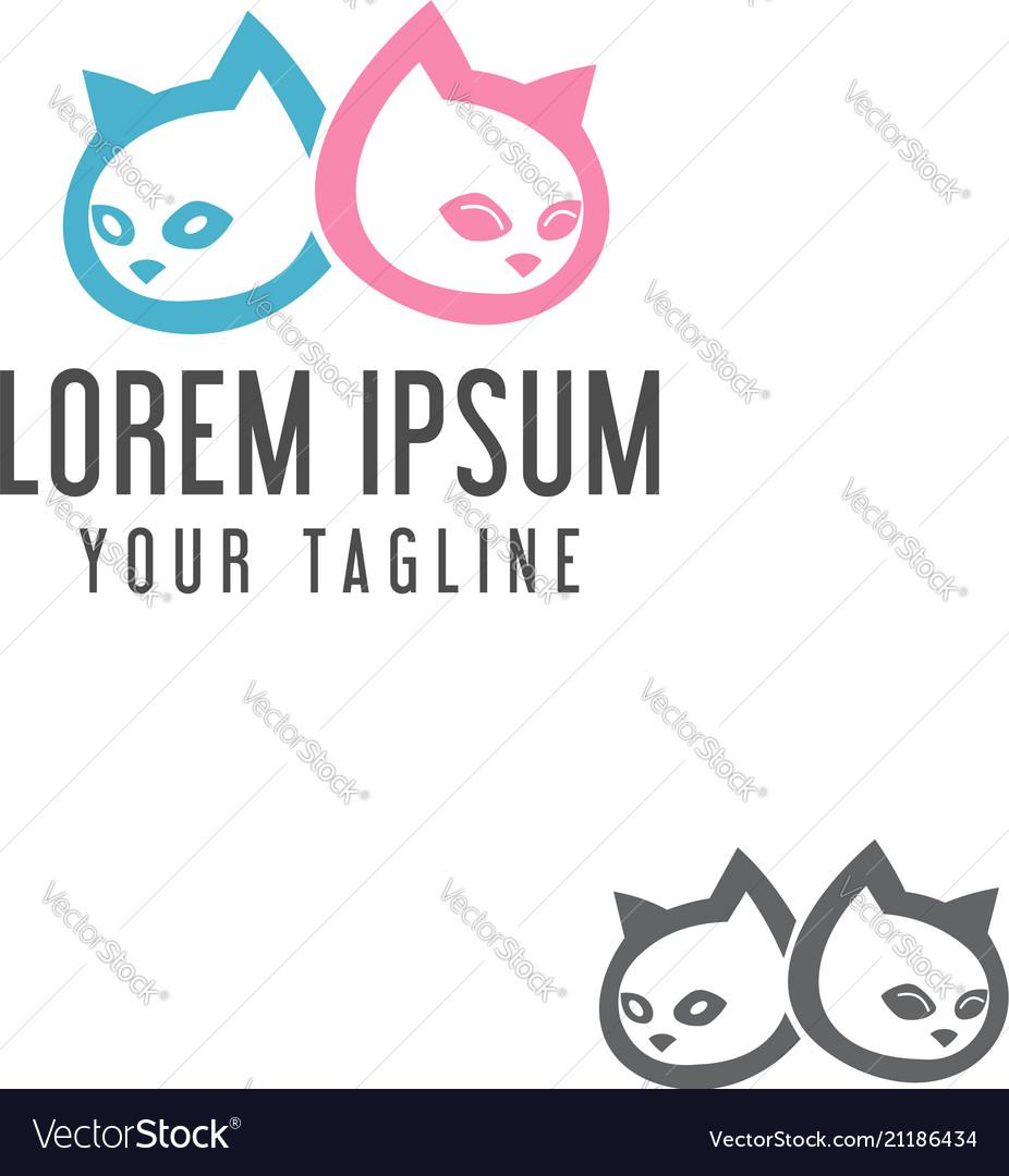 Cute cat head logo design concept template
