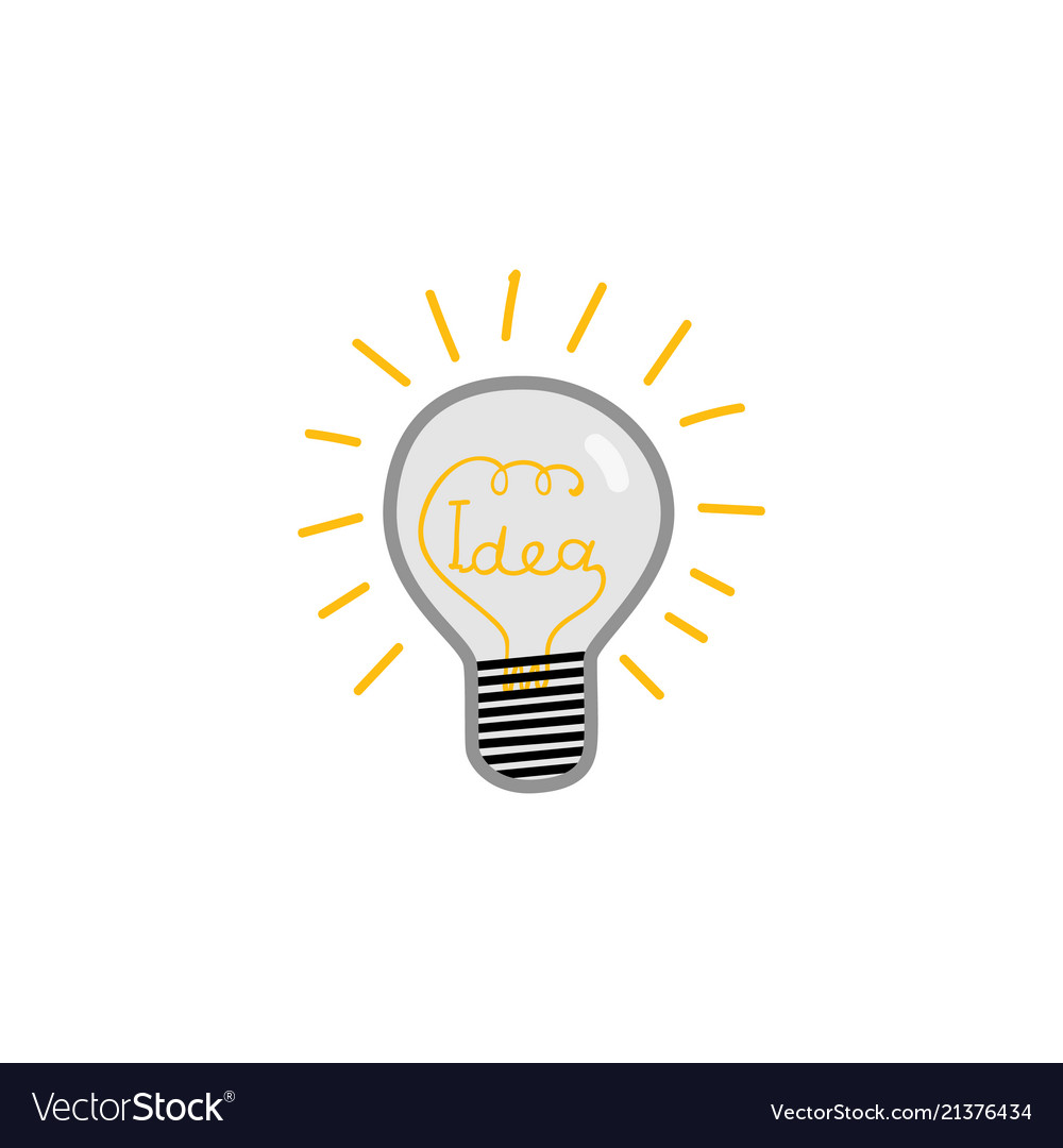 Doodle lightbulb with idea word within glass and